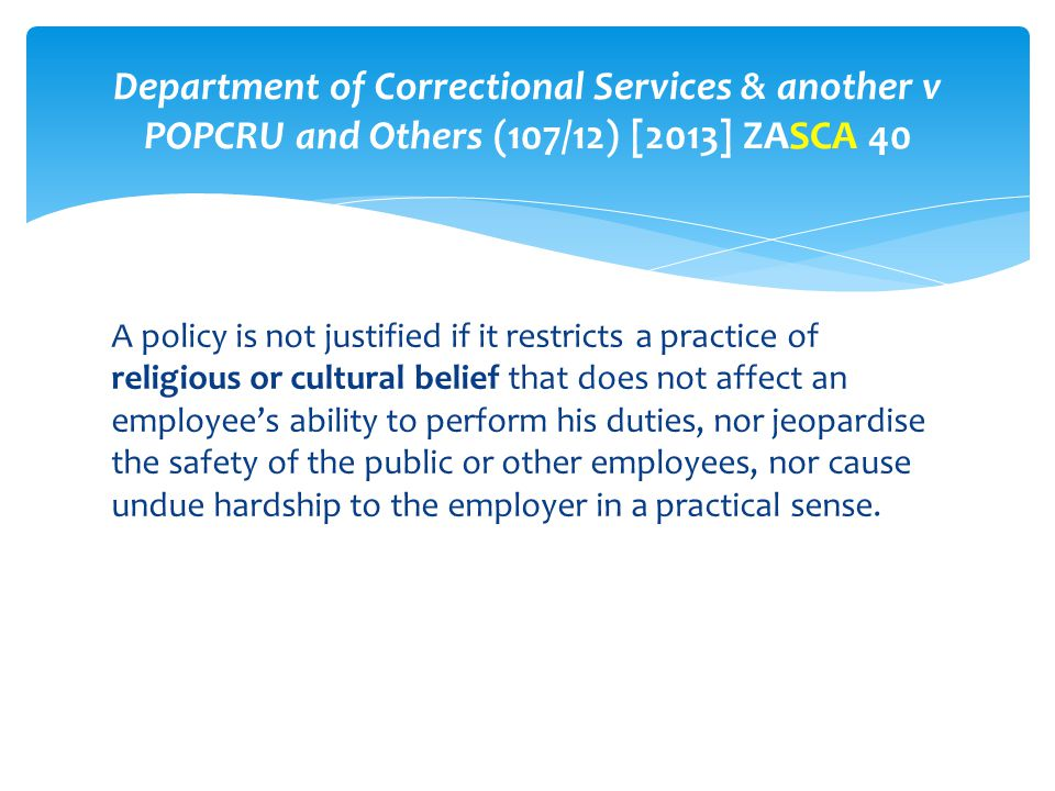 Department of Correctional Services & another v POPCRU and Others (107/12) [2013] ZASCA 40